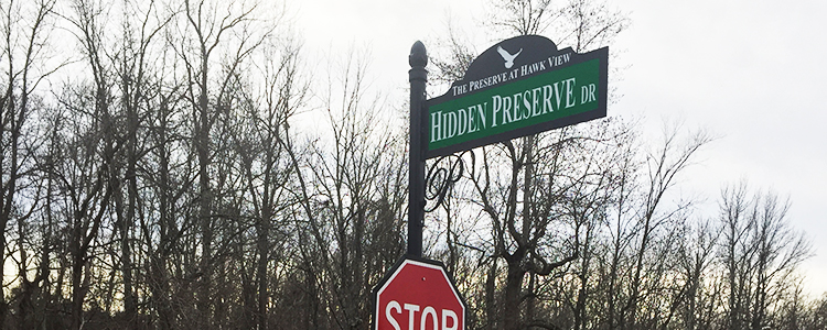 The Preserve at Hawk View custom street name sign